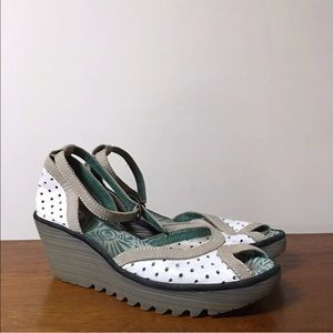 Fly London Wedges 41 White Leather Ankle Strap